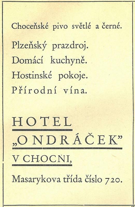 Dobová reklama na Hotel Ondráček.