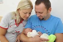 Matěj Dvořák je první radostí pro Ilonu Hoškovou a Lukáše Dvořáka z České Třebové. Chlapec se narodil 26. srpna ve 22.02 hodin s hmotností 2,48 kg.
