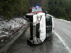 Dopravní nehoda v Orlickém Podhůří.