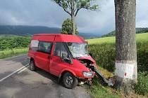 Z místa dopravní nehody u obce Červená Voda.