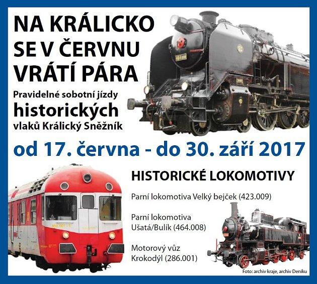 Pravidelné sobotní jízdy historických vlaků Králický Sněžník.