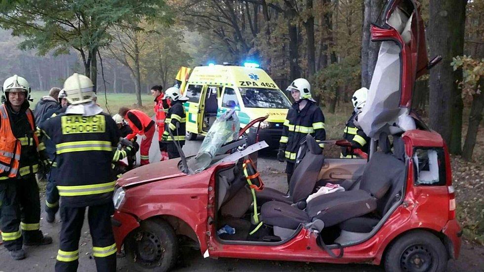 Dopravní nehoda v Újezdu u Chocně. Foto: archiv HZS Pardubického kraje