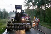 Požár kombajnu u Živanic