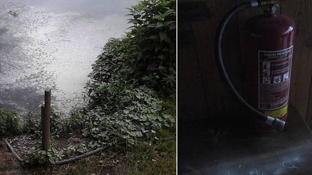 Hasicí práškový přístroj v parku Na Špici nastříkal 21letý mladík i do rybníku.