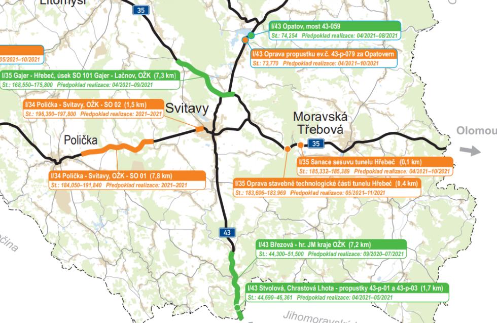 Svitavsko. Plán oprav silnic I. tříd v Pardubickém kraji
