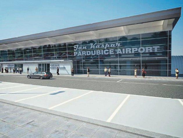 Návrh vzhledu nového terminálu na pardubickém letišti.