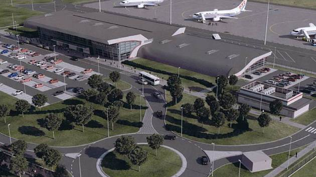 Plánovaný vzhled terminálu pardubického letiště