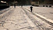 Sníh otevřel pardubické dostihové závodiště milovníkům běžeckých lyží.