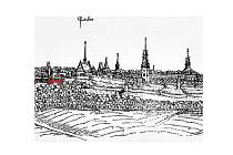 Opevnění Pardubic v roce 1602 na rytině Jana Willenberga. Červěně vyznačený je zbytek dělostřeleckého rondelu, který nyní archeologové odkryli.