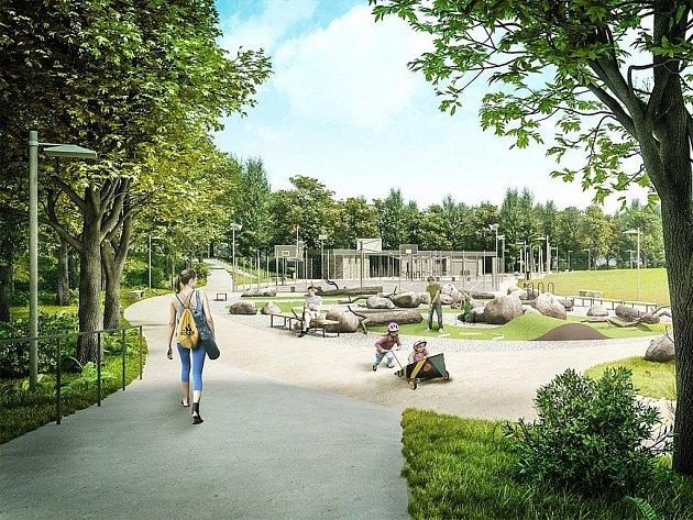 Vizualizace plánovaného parkového prostoru Lonkovka.