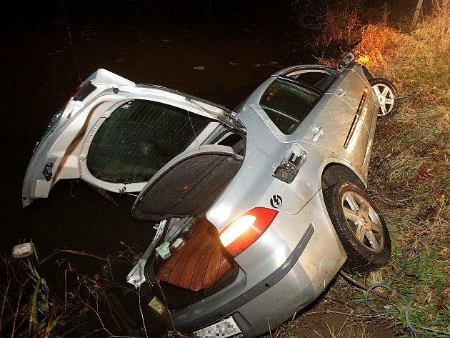 Řidič skončil s vozem ve slepém rameni Labe. Z vozu už se nedostal.