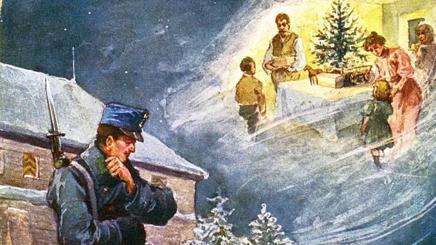 Atmosféra Velké války v roce 1914 zachycená na jedné z dobových pohlednic, kterou domů zasílali vojáci. Obrázek je doslova symbolem doby. Velká válka rozdělila nejen národy, ale především obyčejné rodiny bez ohledu na barvu uniformy a národní zájmy.