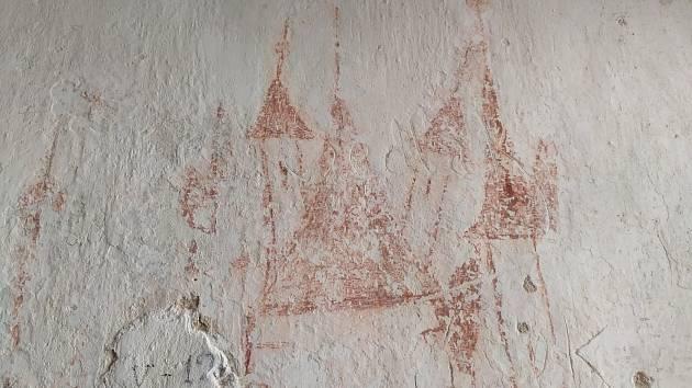 Graffiti jsou nejčastější v 15. a 16. století, do tohoto období je datovatelná i tato kresba.