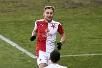 SK Slavia Praha - FK Pardubice: Jan Kuchta ze Slavie se raduje z gólu.