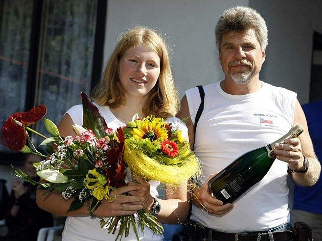 Lenka Štěrbová se svým otcem a trenérem Michalem Štěrbou