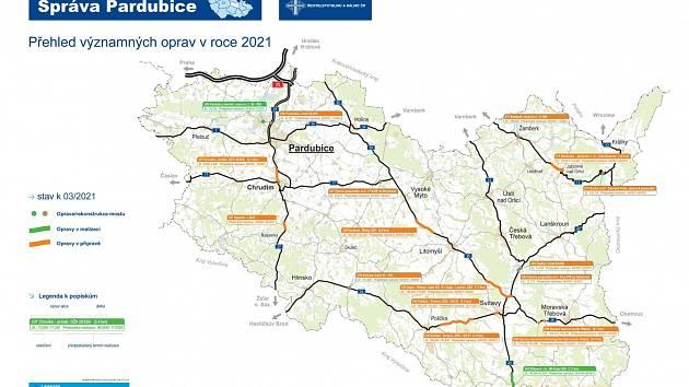 Plán oprav silnic I. tříd v Pardubickém kraji v roce 2021