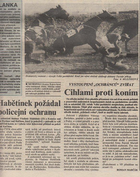 První strana Pardubických novin ze dne 12. října 1992. Zdroj: Státní okresní archiv Pardubice