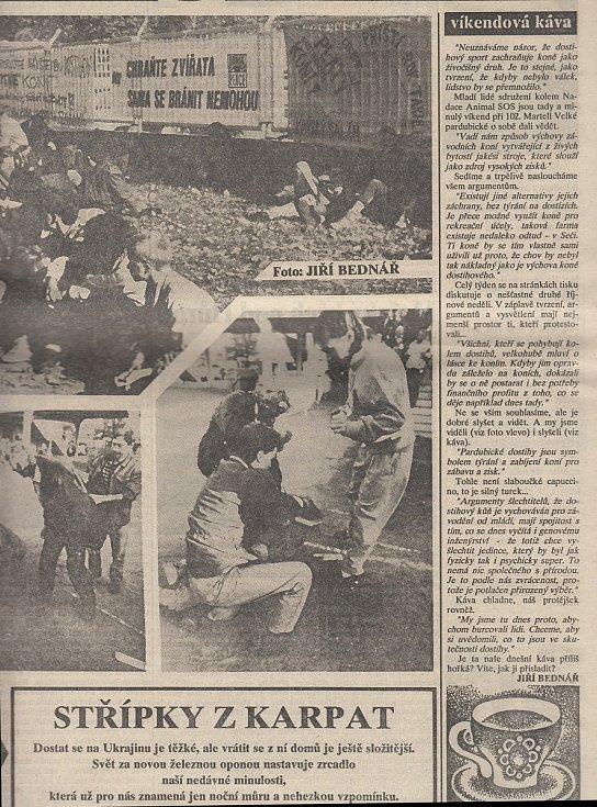 Novinová příloha ze dne 17. října 1992. Zdroj: Státní okresní archiv Pardubice