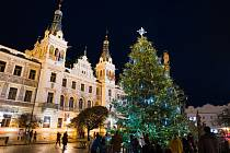 Vánoční strom na Pernštýnském náměstí se rozsvítil již v pátek, aby si ho lidé mohli užít po celý víkend