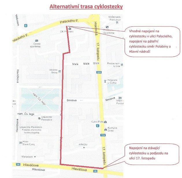 Alternativní trasa cyklostezky podle autorů petice.