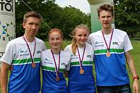 Dorostenci OK Lokomotiva Pardubice získali na MČR sprintových štafet bronz. Zleva: Ondřej Paleček, Tereza Fejfarová, Kateřina Koberová, Šimon Mareček.
