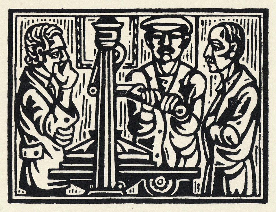 Tři bratři Vokolkovi – Vlastimil jako tiskař, Vladimír jako básník a Vojmír jako malíř