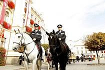 Jízdní oddíl pardubické městské policie využívá k službě 'kladrubáky'