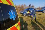 Při požáru v Explosii se zranili čtyři lidé. Na místo letěly dva záchranářské vrtulníky.