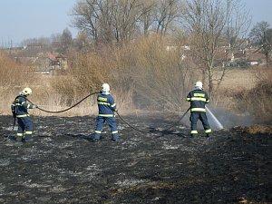 Požár trávy.