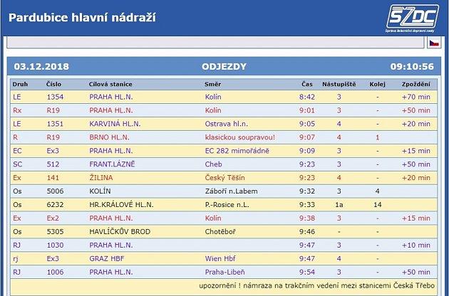 Ranní zpoždění vlaků ve stanici Pardubice - uČeské Třebové vlaky kvůli námraze na trakčním vedení projedou pouze spomocí motorových lokomotiv.