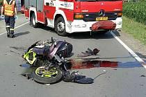 Nehoda motorkáře ve Starém Hradišti.