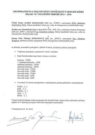 Memorandum okoaliční spolupráci