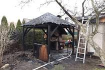 Požár pergoly v Živanicích