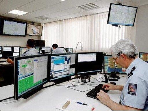 Integrované operační středisko v budově krajského ředitelství policie v Pardubicích.
