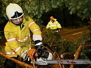 Odstaňování spadlých stromů na Bohdanečsku