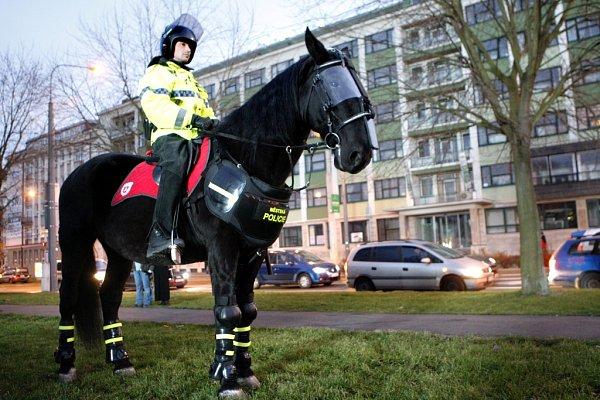 Michal Köhl jako strážník jízdního oddílu Městské policie Pardubice asistoval ipři hokejových zápasech