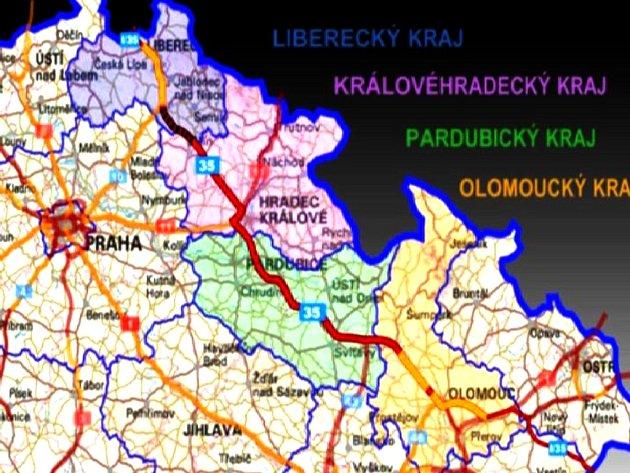 Rychlostní silnice R35 vede přes území čtyř krajů