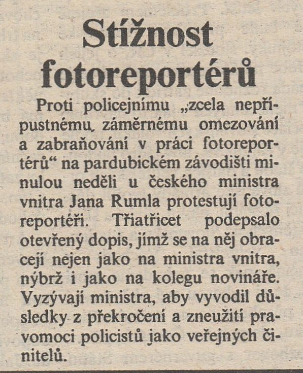První strana Pardubických novin ze dne 17. října 1992. Zdroj: Státní okresní archiv Pardubice