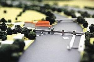 """JEN MAKETA. Tak vypadá model """"plavebního stupně Přelouč"""", který chce ministerstvo dopravy postavit do roku 2024."""
