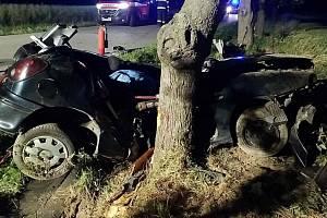 Tragická nehoda u Žáravic. Auto se čtyřmi mladými muži narazilo do stromu. Jeden z nich nehodu nepřežil.