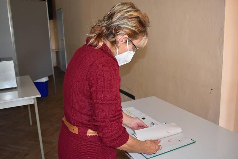 Zapisovatelka Ivana Divišová kontroluje dokumenty.