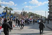 Provládní demonstrace v syrském Aleppu