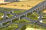 Vizualizace trasy rychlostní silnice R35. Úsek Sedlice - Zámrsk včetně největší třípatrové křižovatky v republice v Opatovicích