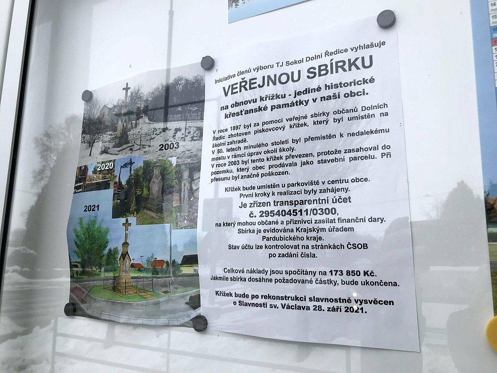 TJ Sokol Dolní Ředice vyhlásil veřejnou sbírku na obnovu křížku.