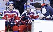 Z utkání Carlson hockey games mezi Českou republikou (v červeném) a Finskem ( v bílomodrém) v pardubické Tipsport areně.