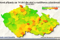 Počet zjištěných nových případ koronaviru v tzv. malých okresech 9. dubna