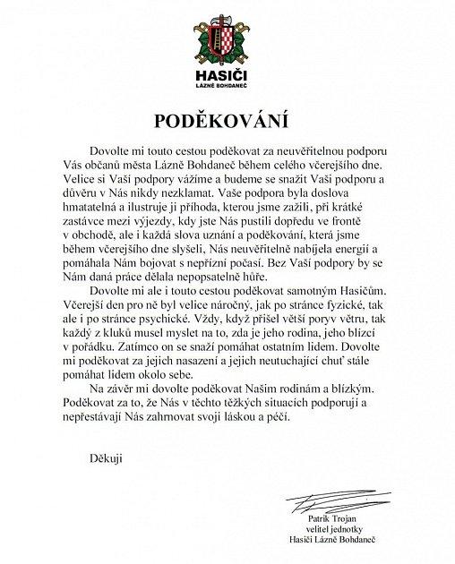 Poděkování hasičů zLázní Bohdaneč občanům města.
