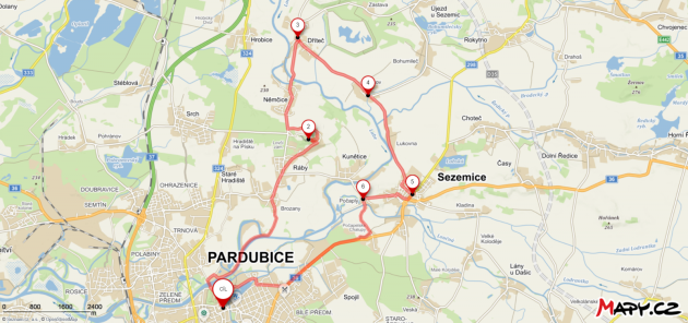 Cyklotrasa Pardubice Kunětická hora