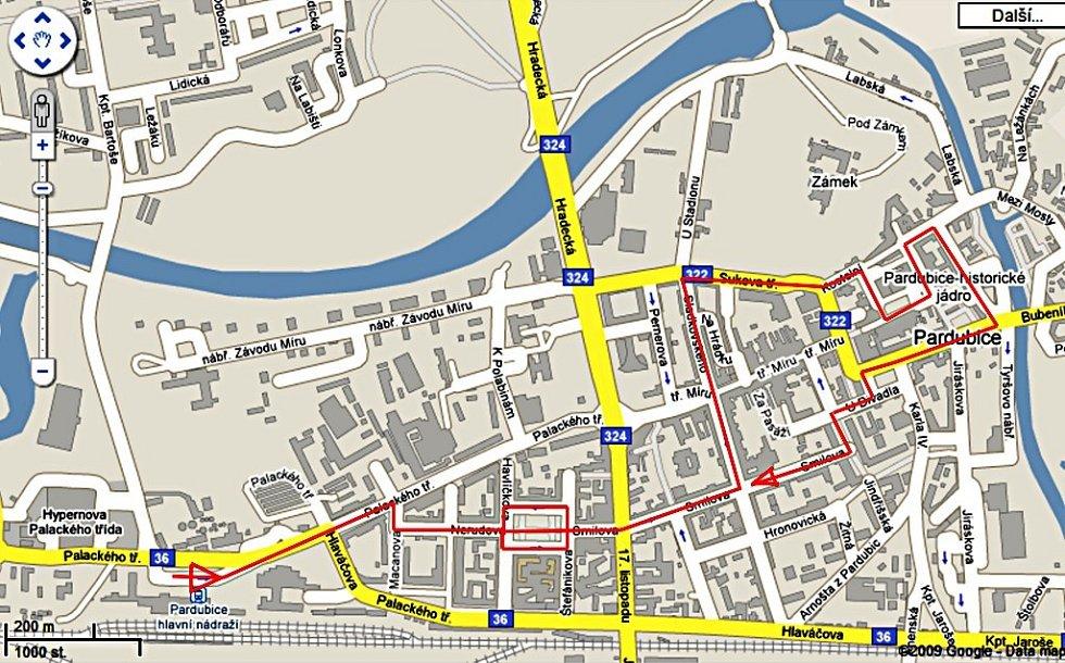 Trasa městem, kterou dvojice škůdců často procházela.