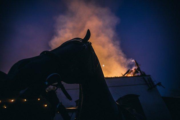 Požár stájí Apolenka ve Spojile uPardubic.